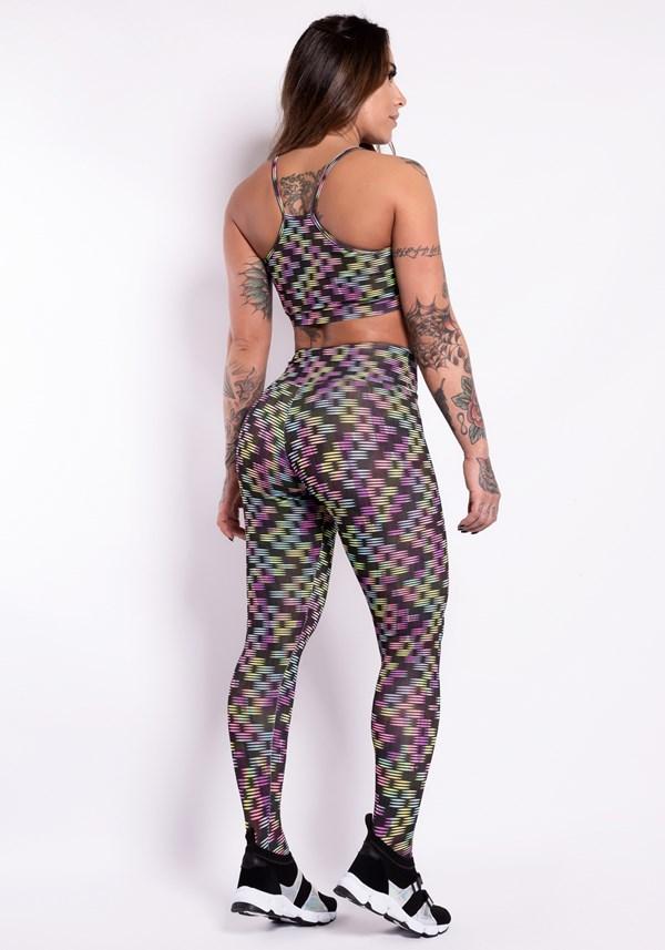 Conjunto fitness suplex estampado colors lines (calça+top)