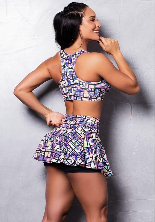 Conjunto fitness suplex estampado colors (short saia + top com bojo)