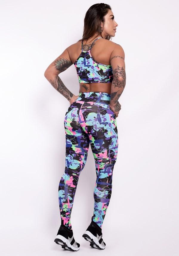 Conjunto fitness suplex estampado life colors (calça+top)