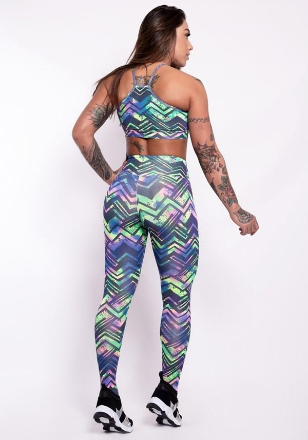 Conjunto fitness suplex estampado neon arrows (calça + top)