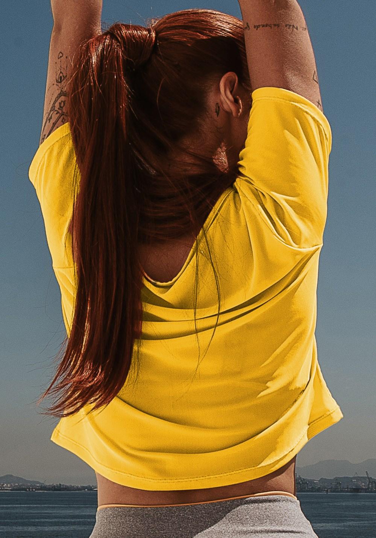 Cropped energy em tule amarelo