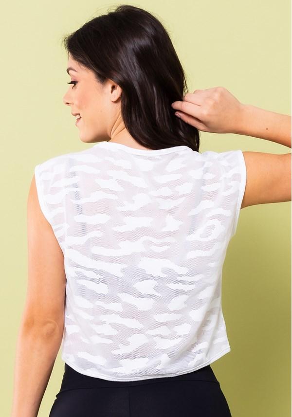 Cropped energy tela camuflada branco