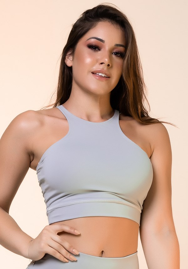 Cropped fitness cinza básico