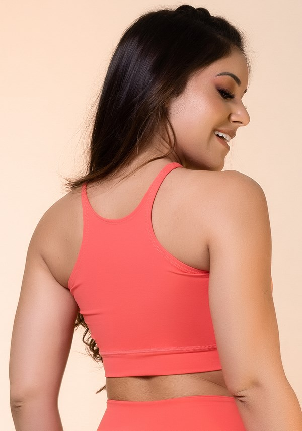 Cropped fitness coral básico
