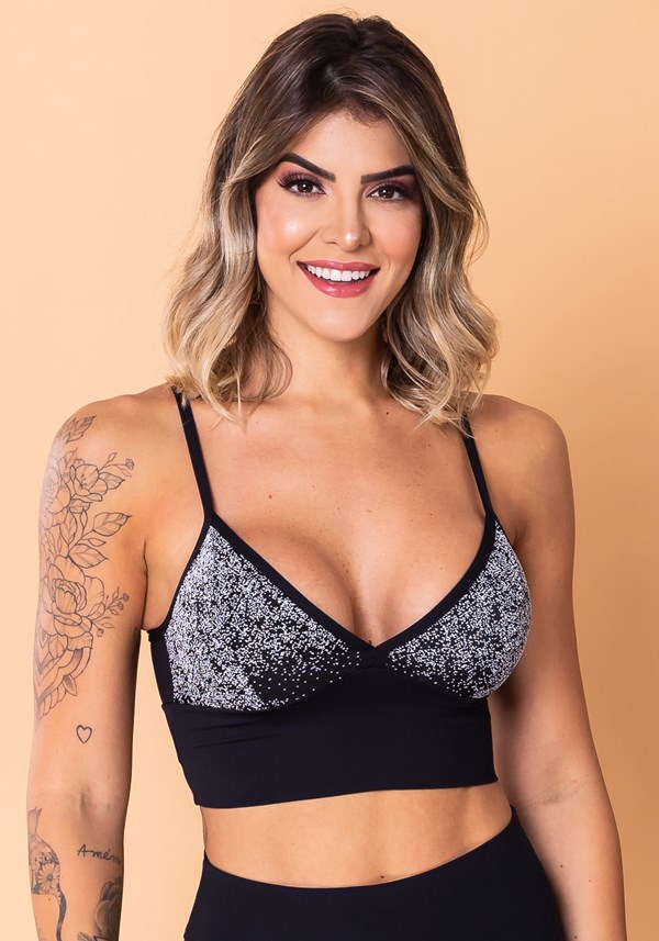 Cropped fitness jacquard degradê preto