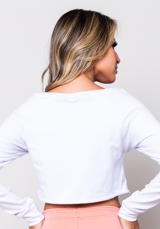 Cropped moletom branco manga comprida com silk