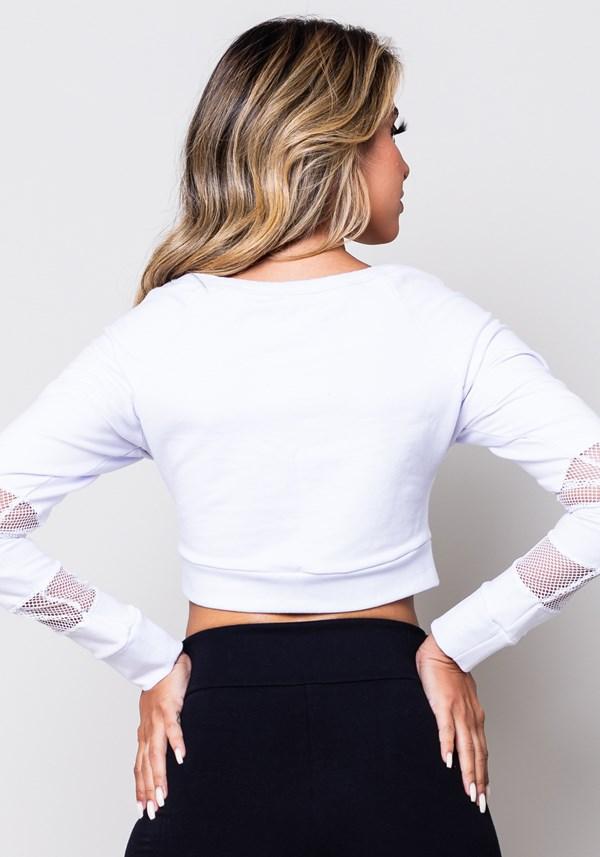 Cropped moletom branco manga comprida com tela