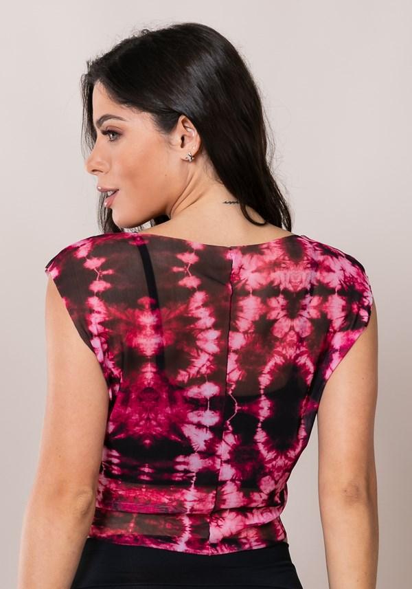 Cropped printed com amarração frontal tie dye rosa