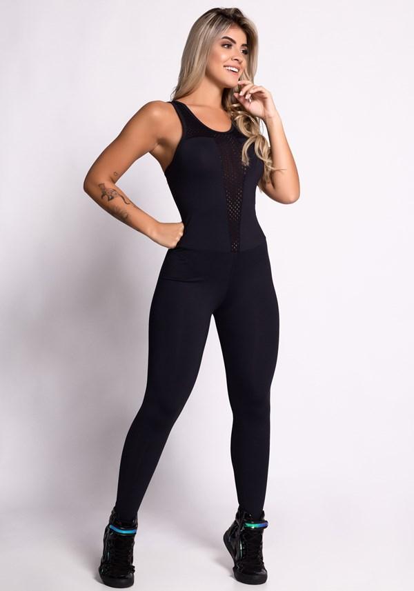 Macacão fitness poliamida preto com tela
