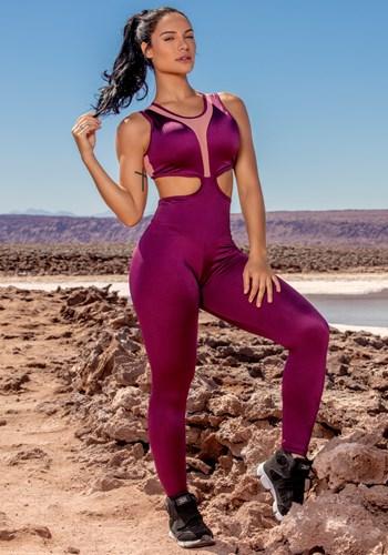 Macacão shiny purple com tule