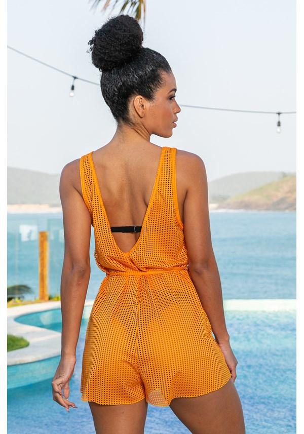 Macaquinho cava longa de tela beach acinturado laranja
