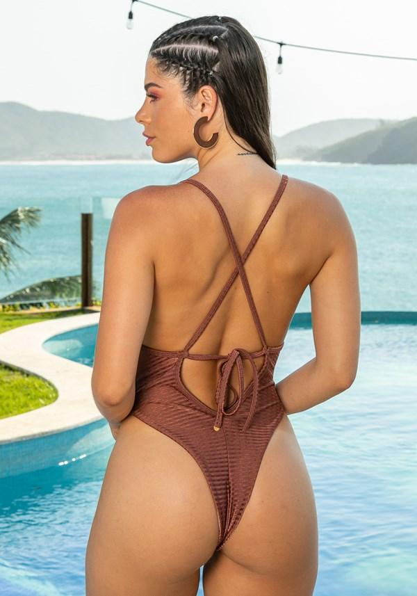 Maiô sem bojo beach decote nas costas dourado