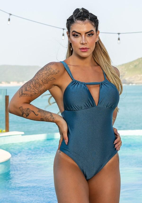 Produto Maiô sem bojo beach modelo cortininha azul marinho