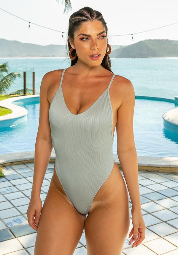 Maiô sem bojo lateral cavada beach com decote redondo prata