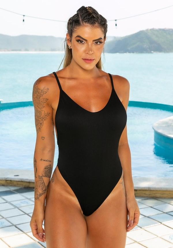 Maiô sem bojo lateral cavada beach com decote redondo preto