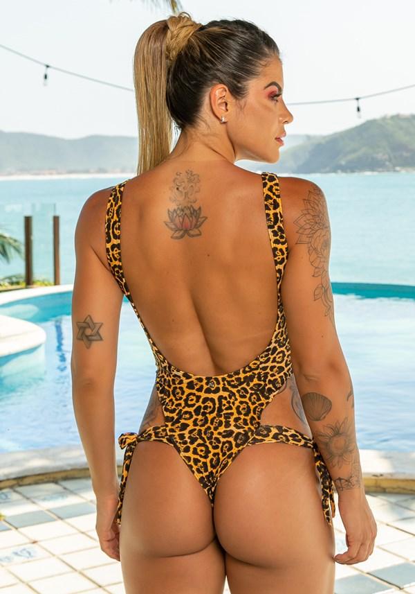 Maiô sem bojo modelo cavado beach amarração lateral leopardo