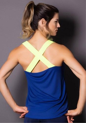 Regata dry fit azul com elástico amarelo neon