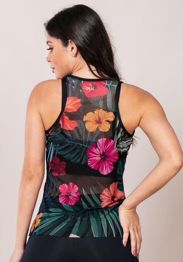Regata modelo nadador printed em tule hibiscos