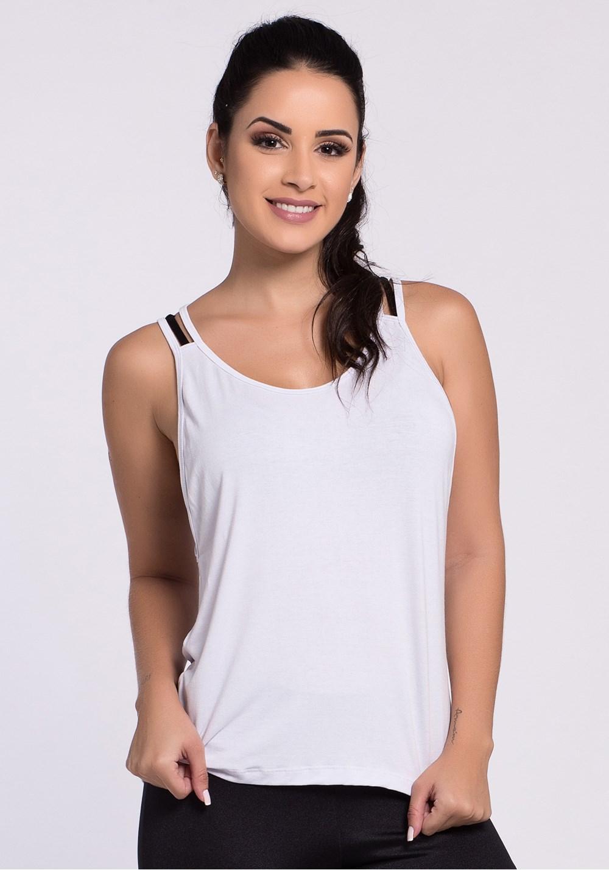 Regata viscose branca com tela