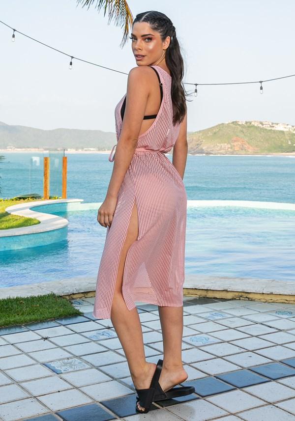 Saída de praia beach modelo midi em tela rosa