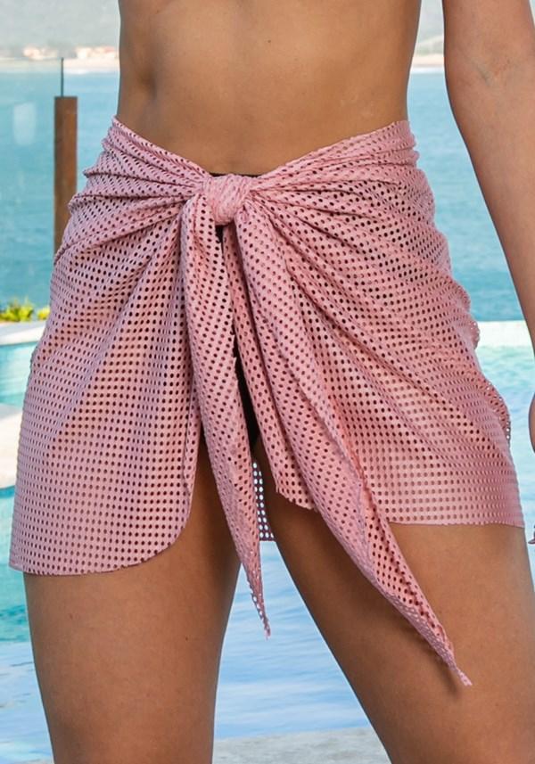 Saída de praia modelo pareô beach em tela rosa