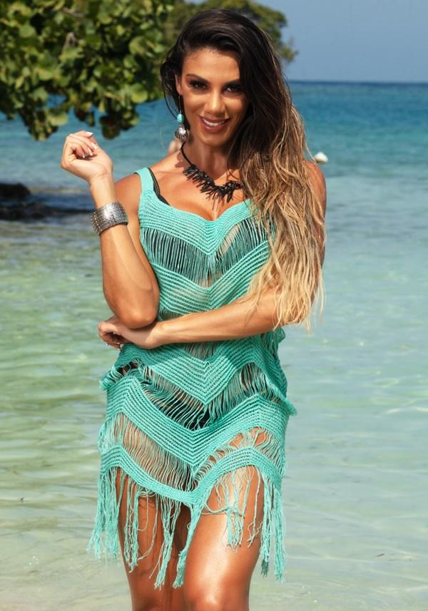 Produto Saída de praia tricô jade