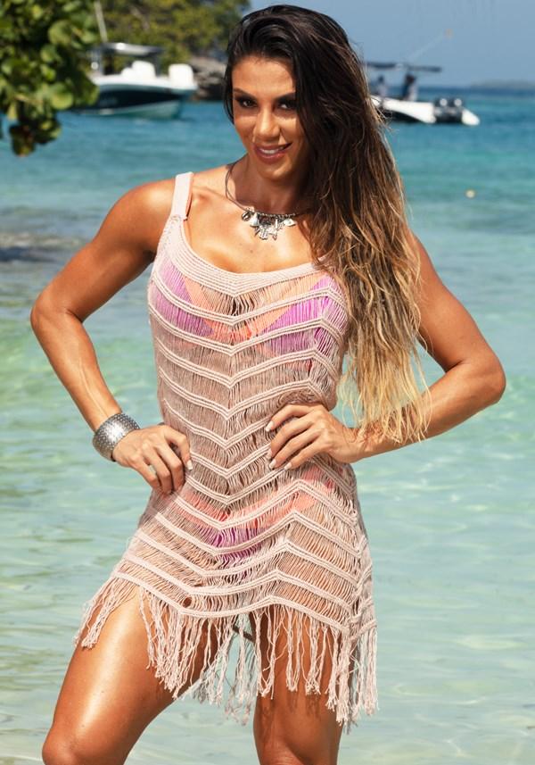 Produto Saída de praia tricô nude