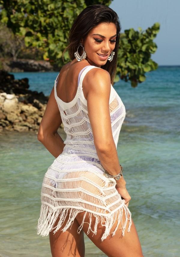 Saída de praia tricô off white