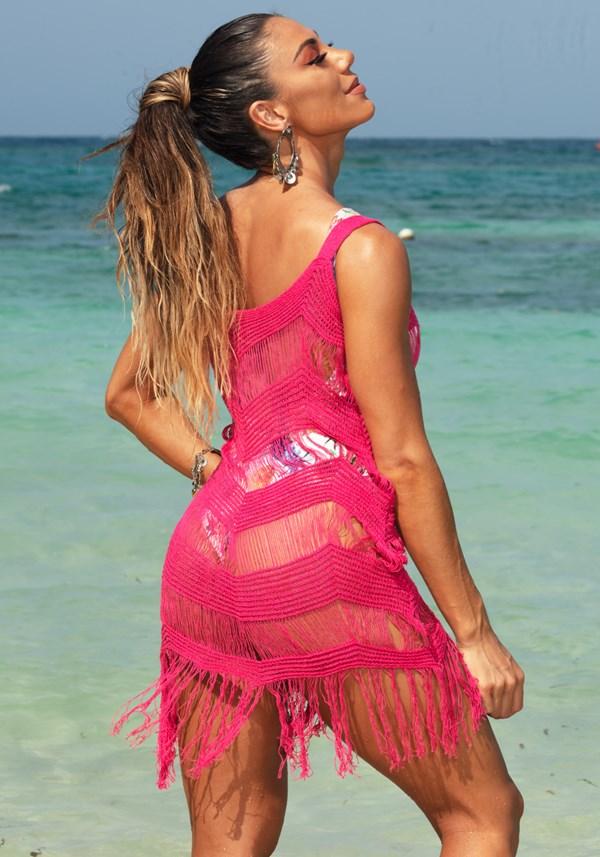 Saída de praia tricô pink