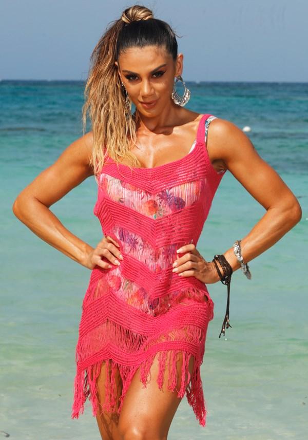 Produto Saída de praia tricô pink