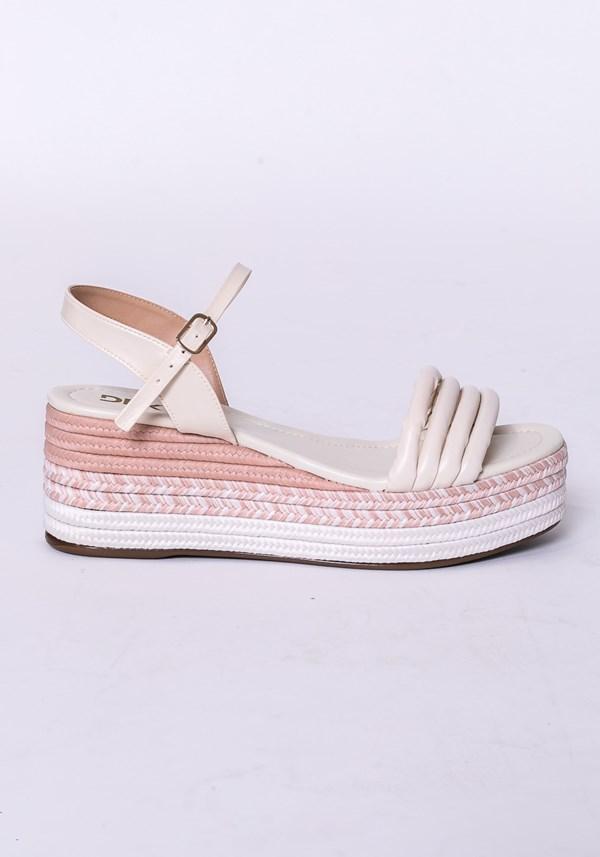 Sandália plataforma shoes detalhes em corda nude