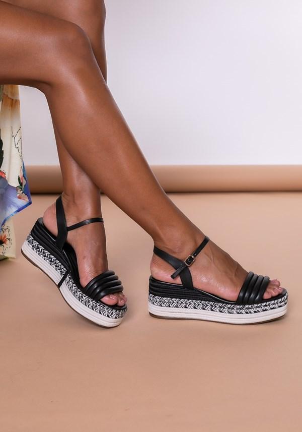 Sandália plataforma shoes detalhes em corda preto