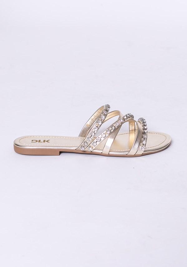 Sandália rasteirinha modelo skin shoes dourado