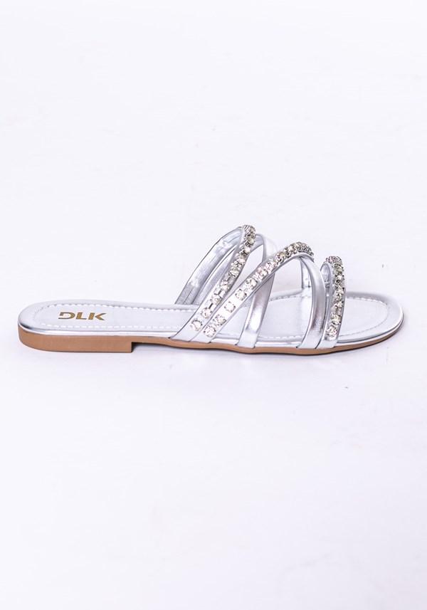 Sandália rasteirinha modelo skin shoes prata