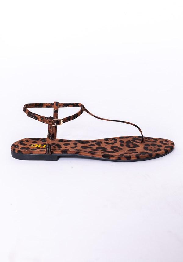 Sandália rasteirinha shoes animal print marrom