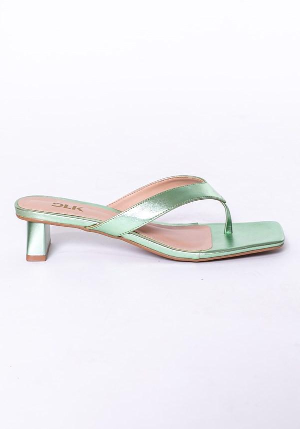 Sandália salto flare shoes verde água metalizado