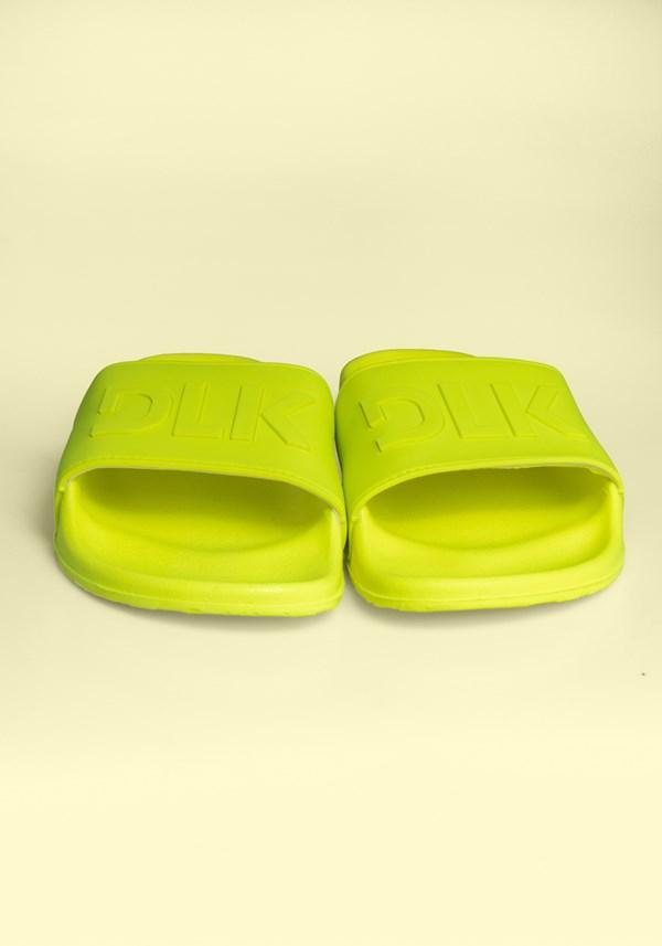 Sandália slide amarelo neon