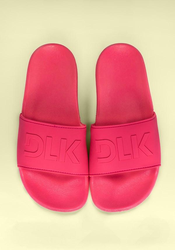 Sandália slide rosa neon