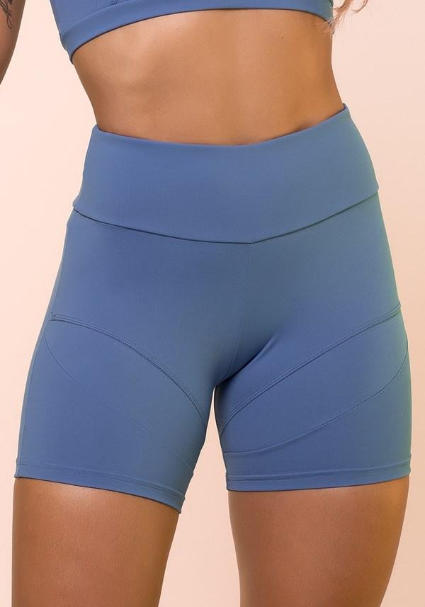 Short azul com recortes básico