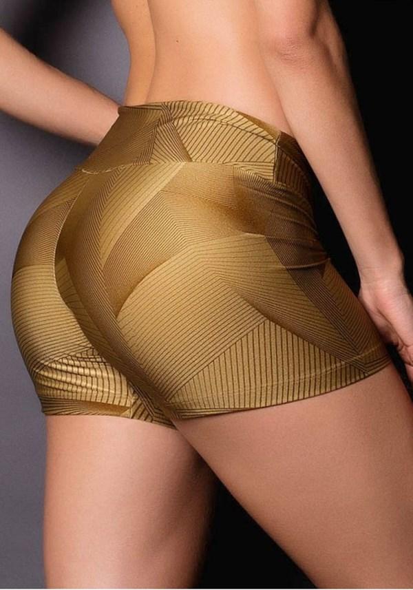 Short brilho cirrê estampado golden lines