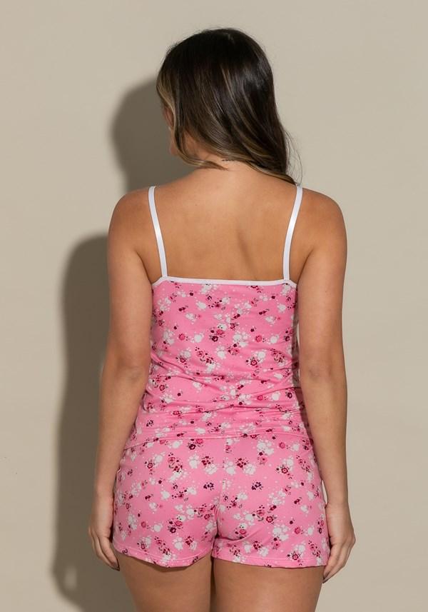 Short doll intimate em suede florido rosa