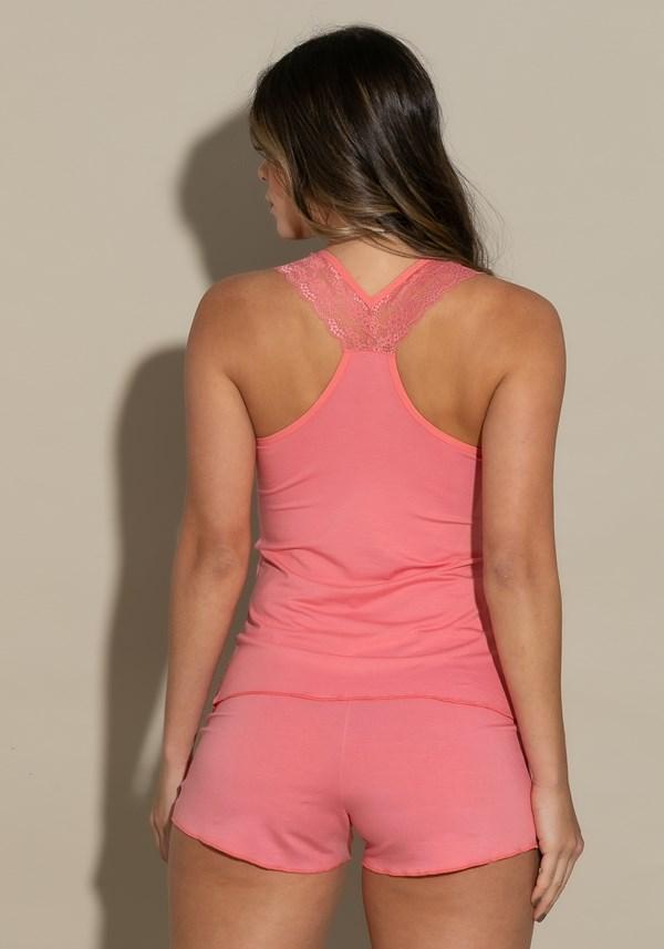 Short doll modelo nadador intimate detalhe em renda rosa