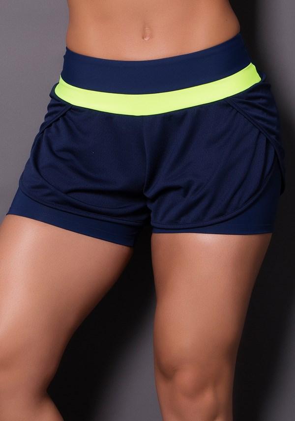 Short dry fit azul marinho com detalhe neon