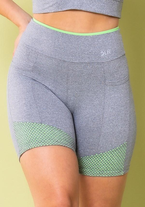 Short energy mescla com bolsos detalhe tela verde