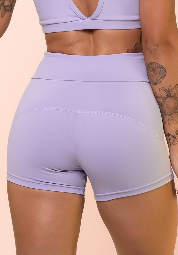 Short fitness lilás com cadarço básico