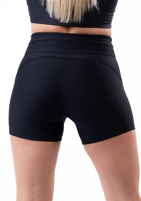 Short fitness preto com cadarço básico
