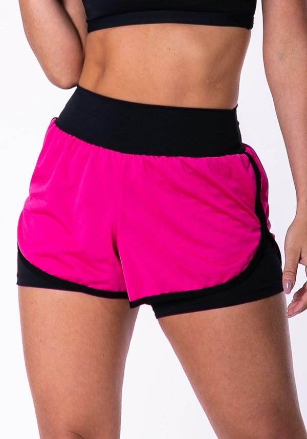 Short fitness preto com dry fit neon