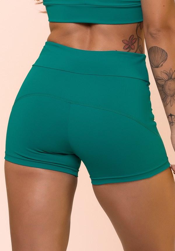 Short fitness verde com cadarço básico