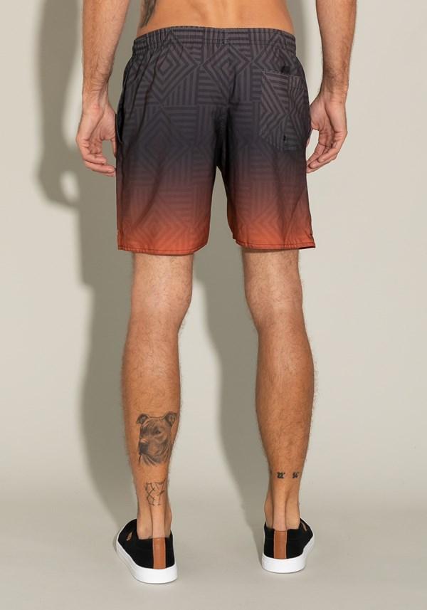Short for men com bolso e cadarço estampa degradê laranja