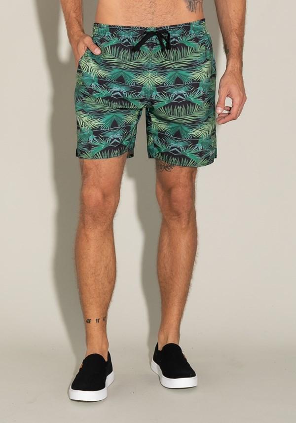 Short for men com bolso e cadarço estampa folhas de palmeira